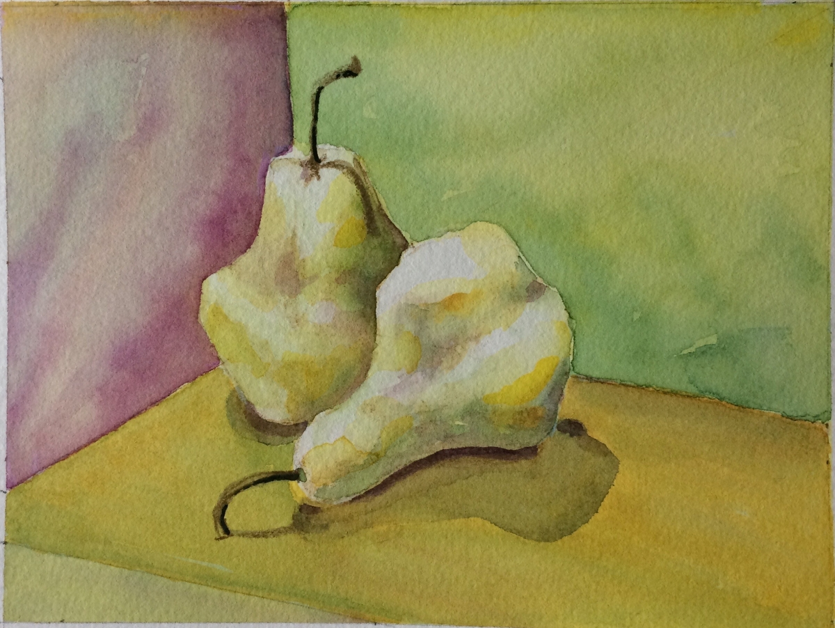 Two pears in watercolor